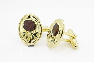 Rose Croix Masonic Cufflinks Gilt Metal