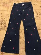 GYMBOREE  SMART AND SWEET  BLUE CORDUROY FLOWER PANTS  GIRLS  SZ   7