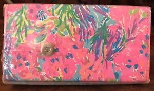 NEW/SEALED Lilly Pulitzer Eyeglass Sunglass Case Collapsible Fan Sea Pants Pink