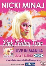 "NICKI MINAJ ""PINK FRIDAY TOUR LIVE IN MANILA"" 2012 PHILIPPINES CONCERT POSTER"