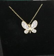"DIAMOND PAVE BUTTERFLY gold on STERLING SILVER PENDANT 18 "" chain FAS"