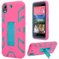 For HTC Desire 626 626s Hip Vertical Hybrid Kickstand - Sky Blue+Hot Pink