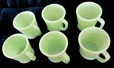 Set of SIX (6) Vintage FIRE KING JADEITE Restaurant D-handle MUGS