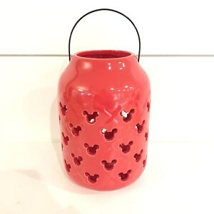"""Disney Mickey Mouse Red Ceramic Garden Lantern With Handle 7"""" New"""