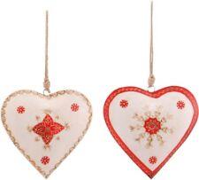 Zwei Metall-Herz Hänger Herz Groß Set Rot Antik-Weiß Fensterdeko Shabby Landhaus