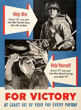 Original Vintage WWII Poster For Victory Help Him Help Yourself c1943 War Bonds