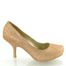 New Womens Glitter Kitten Mid Platform Bridal Wedding Prom Party Shoes Size