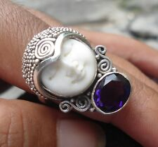 New Item-925 Sterling Silver Balinese Ring Goddess Face w amethyst size 7
