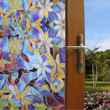 """Static Cling Frosted Stained Flower Glass Window Film Sticker Privacy 78.8×35.5"""""""