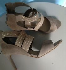 BNWT M&S LADIES HEELS SANDALS , SIZE 7 NEUTRAL ,FAUX SUEDE, STRAPPY,SUMMER