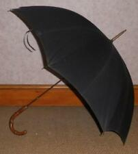Vintage Gold Plate Black Canopy Parasol With Wangy Bamboo Crook Handle