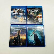 Blu Ray Lot 4 MOVIES: DIVERGENT, BATTLESHIP, CHAPPIE & I, FRANKENSTEIN 3D