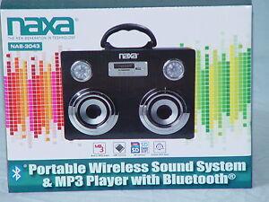 NAXA NAS-3043 Portable Wireless Sound System & MP3 Player with Bluetooth New