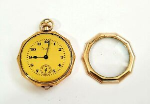 1927 US Gold Plated Open Face Ladies Half Hunter Pocket Watch by Elgin (AHB)