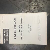 CATERPILLAR CAT D333 GAS ENGINE MAINTENANCE  OPERATION MANUAL BOOK S/N
