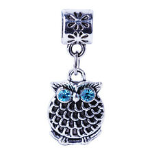 2pcs Silver Blue Crystal Owl Pendant Beads Fit European Charms Bracelet Bangle