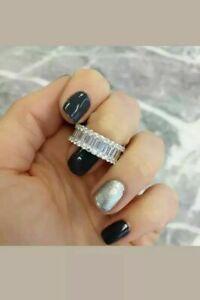 2.50 Ct Baguette Cut Diamond 14K White Gold Over Full Eternity Wedding Band Ring