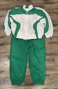 Vintage 90s Nike Tracksuit Complete Windbreaker Jacket Pants Green XL