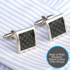 Well Finish Gorgeous Carbon Fiber Silver Square Cuffs Black Checkered Cufflink