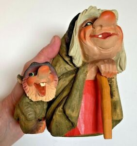 HENNING~Norway~Hand Carved TROLLS~painted Wood~Kitchen Witch w/cane+House Mouse