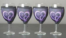Purple Heart wine glass coolers x 4