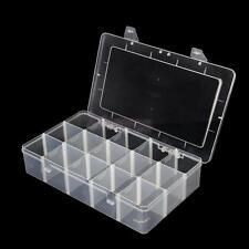 LARGE Adjustable Plastic 15 Compartment Storage Box Jewelry Craft Tool Bin Case