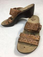 Abeo Biosystem Womens 8 N Dorin Textured Buckle Strap Wedge Sandals Shoes Brown