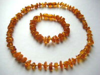 SET OF BALTIC AMBER CHILDREN'S NECKLACE AND BRACELET HONEY COLOR