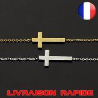 Jésus Christian Femmes Hommes Sideways Croix Bracelets Argent Religieux Chaîne