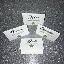 Personalised Christmas Table Name Place Card Settings Glitter + Colour Choice