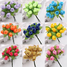 12 Heads Crafts Silk Fake Rose Artificial Flower DIY Garden Bouquet Home Decor