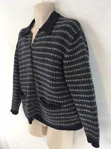 Eddie Bauer Mens M Blue Gray Stripe Button Front Cardigan Wool Sweater