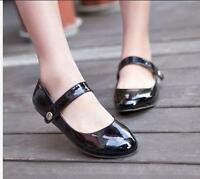 Womens Mary Janes Flat Heel Sweet Cute Fashion  Patent Leather Shoes plus size