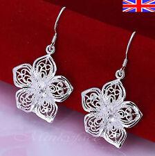 Silver 925 Sterling Filigree Flower Dangle Drop Earrings Hook Free Gift Bag