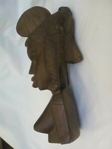 Wooden head/bust of African tribal woman, hand carved