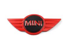 Mini Cooper Mini One Badge Metal Stick On Emblem. Red / Black