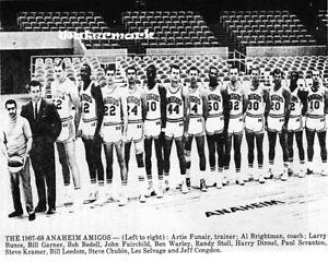 Rare ABA 1967 - 68 Anaheim Amigos 1st Team Picture Black & White 8 X 10 Photo