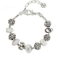 European Crystal White clear Charms Bracelet Vintage Diamante Beads Adjustable