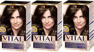 Schwarzkopf Vital Colour Hair Dye, Dark Brown 3-0 - Pack of 3