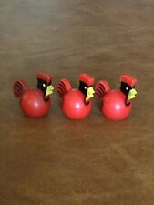 Vintage Fisher Price Little People Farm Lot of 3 Red Roosters