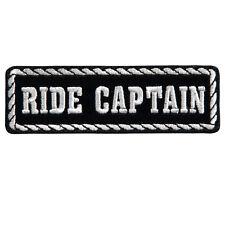 Patch écusson Ride Captain blanc/noir blouson gilet - biker fleck parche club
