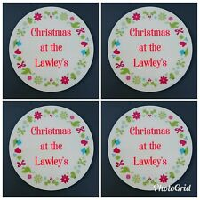 Set of 4 Christmas Coasters - Personalised with Family Name - Handmade