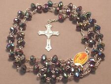 Rosary Necklace Faceted Rondelle AB Bead Medal Center Silver BLACK GUADALUPE !!