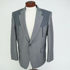 "Sheplers Western Suit New Old Stock Jacket Sz 44 Sueded Yoke Plants 36"" VTG Rare"