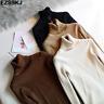 Women Knit Sweater Mock Neck Pullover Turtleneck Long Sleeve Slim Blouse TopWarm