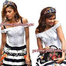 Dolce & Gabbana Off-The-Shoulder Lace-Up White Cotton-Poplin Bustier Corset Top