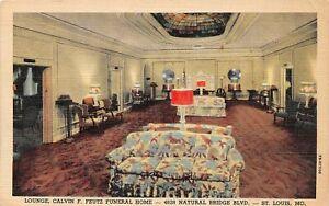 G82/ St Louis Missouri Postcard Linen Interior Feutz Funeral Home Lounge