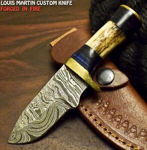 Louis Martin Custom Handmade Damascus Stag Antler Camping Hunting Skinner Knife