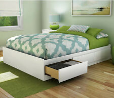 Platform Bed Frame Full Size with 3 Storage Drawers Wood Furniture Bedroom White