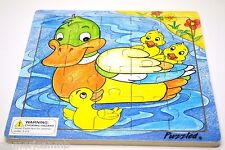"DUCK BABY 20 pc Jigsaw Wood Puzzle 8""x8"" Educational Toy Wooden Wooden Game"